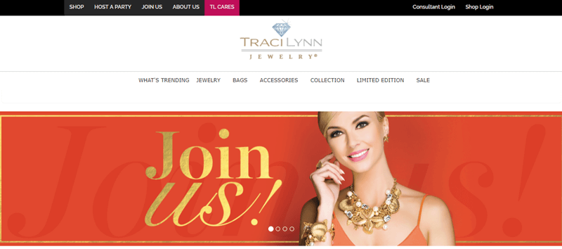 Traci Lynn Jewelry website screenshot showing a blonde woman against an orange background with the words 'Join us!' in gold.