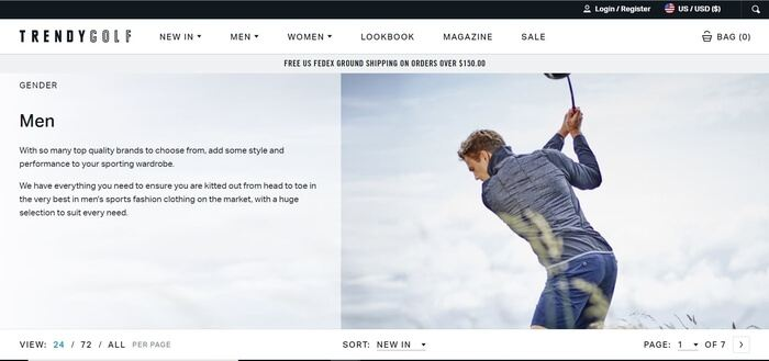 screenshot of the affiliate sign up page for TrendyGolf