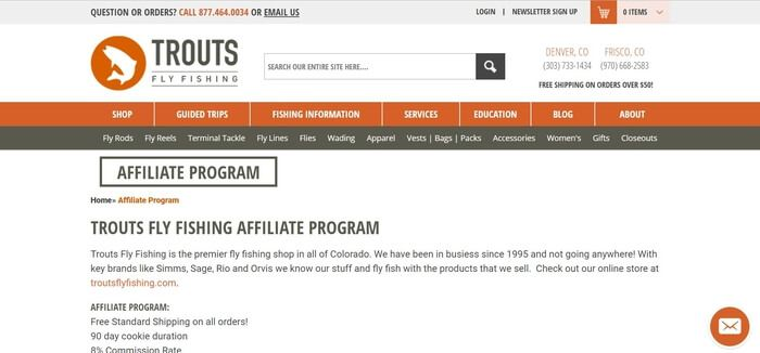 screenshot of the affiliate sign up page for Trouts Fly Fishing