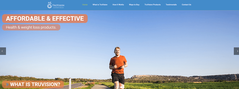 TruVision website screenshot showing a man outside running toward the camera.
