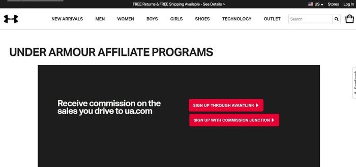 screenshot of the affiliate sign up page for Under Armour
