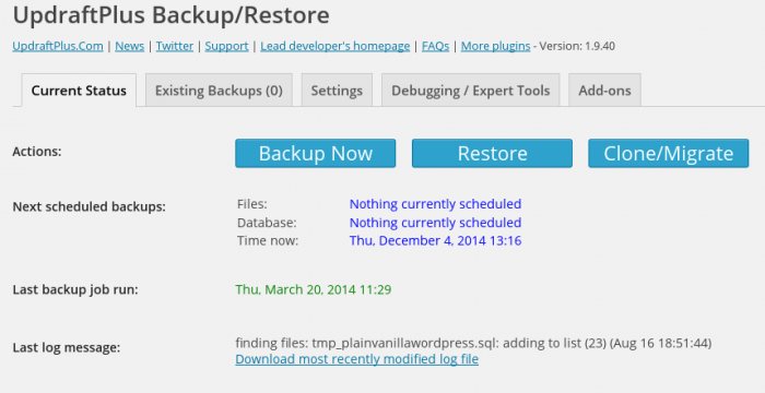 "The UpdraftPlus ""Backup/Restore"" tab where you can start backup, restoration, or migration process with a single click. It also shows the scheduled backups, latest backups, etc."