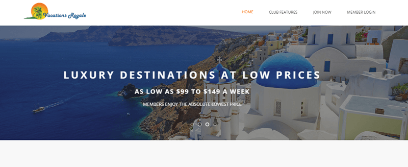 Vacations Royale website screenshot shows an image of a Greek city, overlaid with information about luxury destinations at low prices.