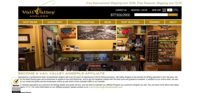 screenshot of the affiliate sign up page for Vail Valley Anglers