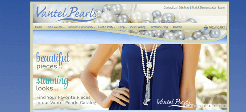 Vantel Pearls website screenshot showing a woman in a blue shirt wearing a detailed pearl necklace.