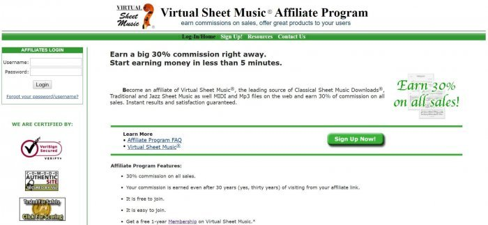 screenshot of the affiliate sign up page for Virtual Sheet Music