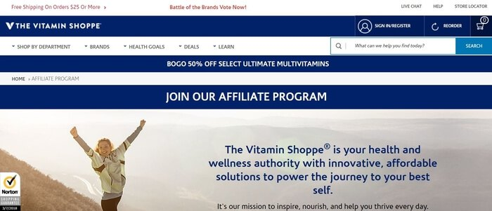 screenshot of the affiliate sign up page for Vitamin Shoppe