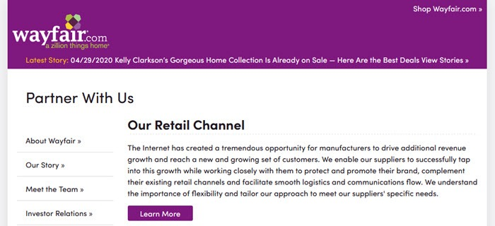 A screenshot of the Wayfair site showing a purple header and buttons, along with black text