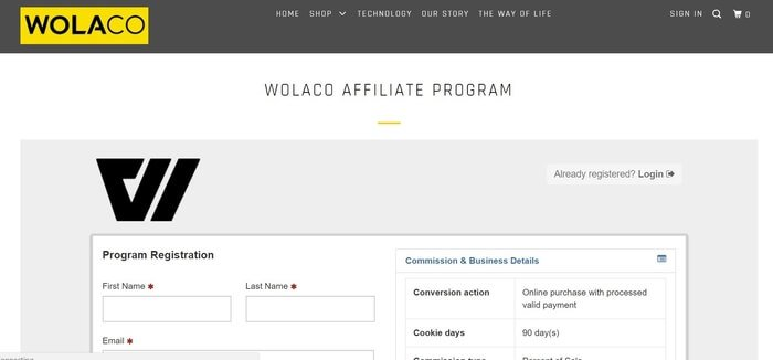 screenshot of the affiliate sign up page for Wolaco