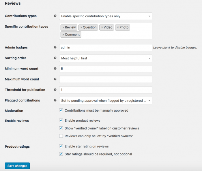 The review settings available by the WooCommerce Reviews plugin, including contribution types, sorting order, word count, moderation, and various other things.