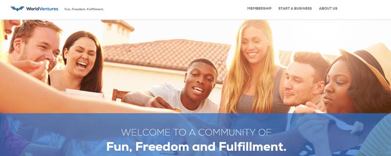 World Ventures website screenshot showing a group of friends socializing outside.