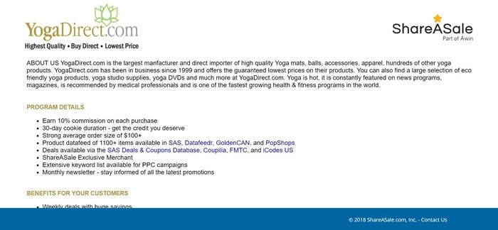 screenshot of the affiliate sign up page for Yoga Direct