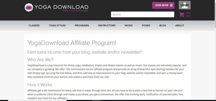 screenshot of the affiliate sign up page for Yoga Download