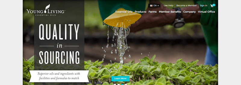 Young Living website screenshot showing a man watering plants outside, with the words 'Quality in Sourcing' on the left hand side.