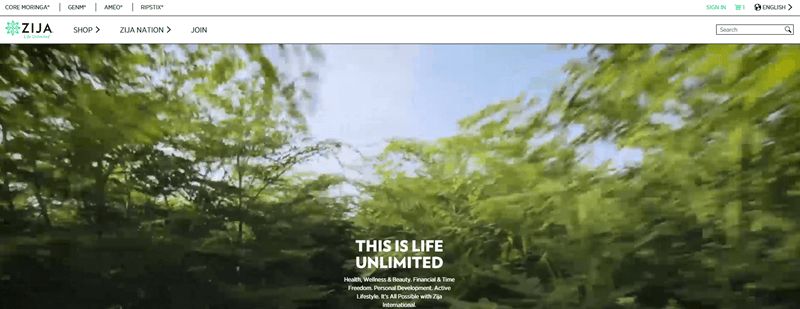 Zija International website screenshot showing the camera moving through a green bushy area with the sky above.