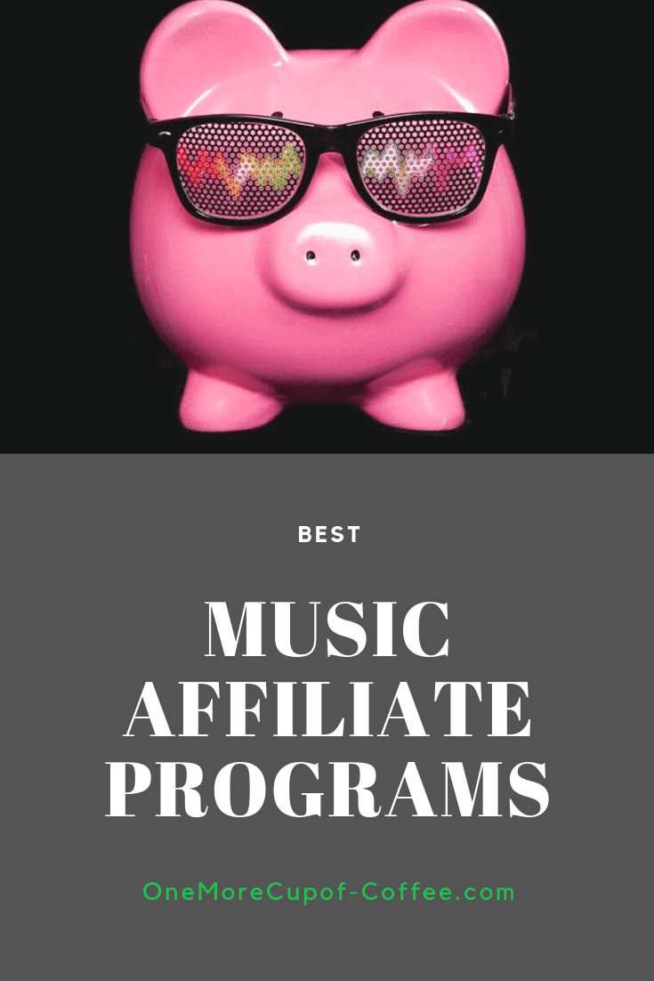 "porcelain pig with sunglasses and music beats design in the frames with the phrase ""best music affiliate programs"""