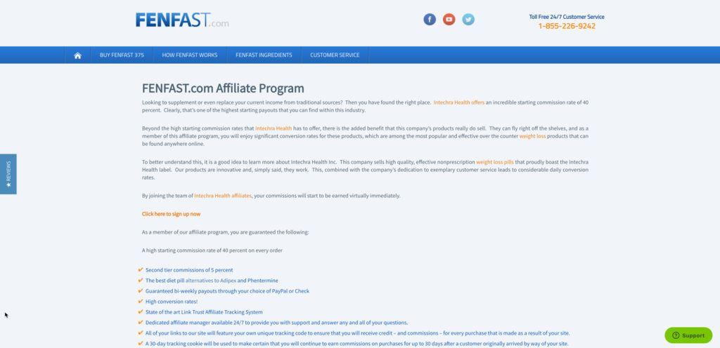 fenfast.com affiliate program screenshot