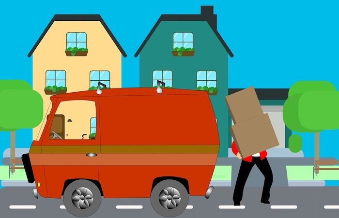 cartoon image of man moving boxes from a van