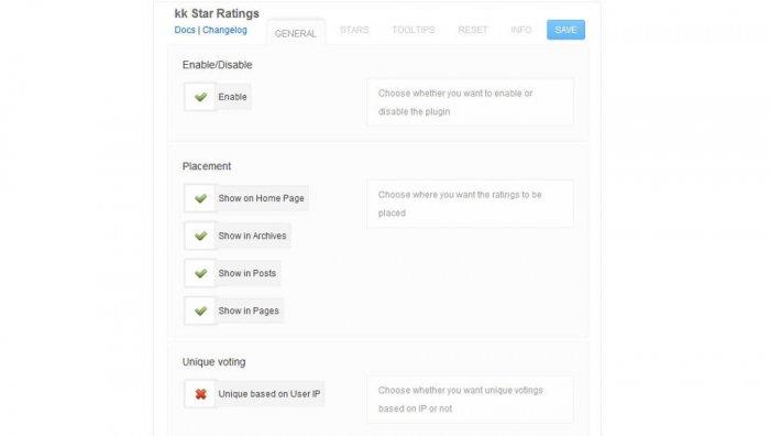 The general settings available inside the kk Star Ratings plugin.