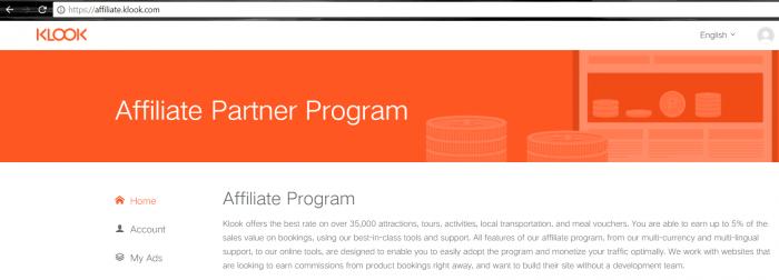 klook affiliate program