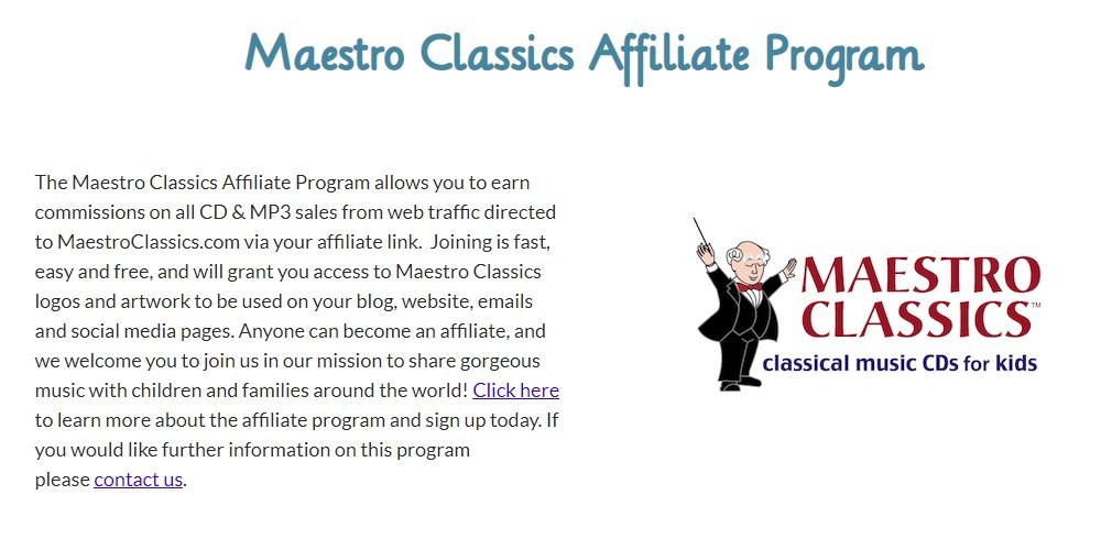 maestro classics affiliate program sign up page