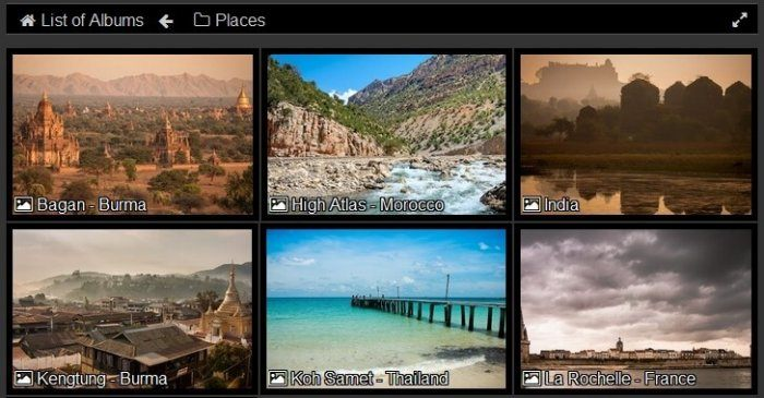 Two rows of thumbnails, each representing an album with images of a certain city (ex: Bagan, High Atlas, Kengtung, etc.)