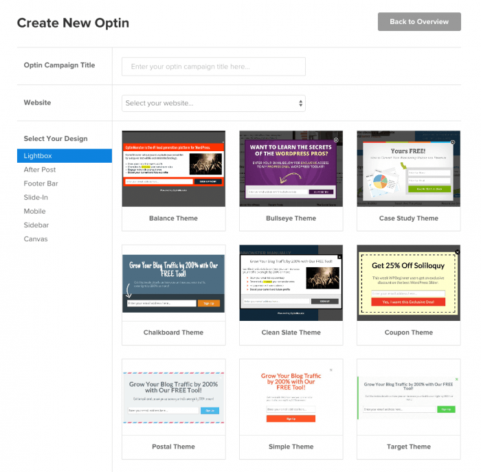 A display of the plugin's pre-made opt-in templates that you can use on the drag-and-drop builder to create your own opt-ins.