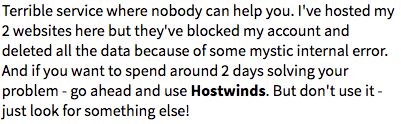 Bad review left from a HostWinds customer