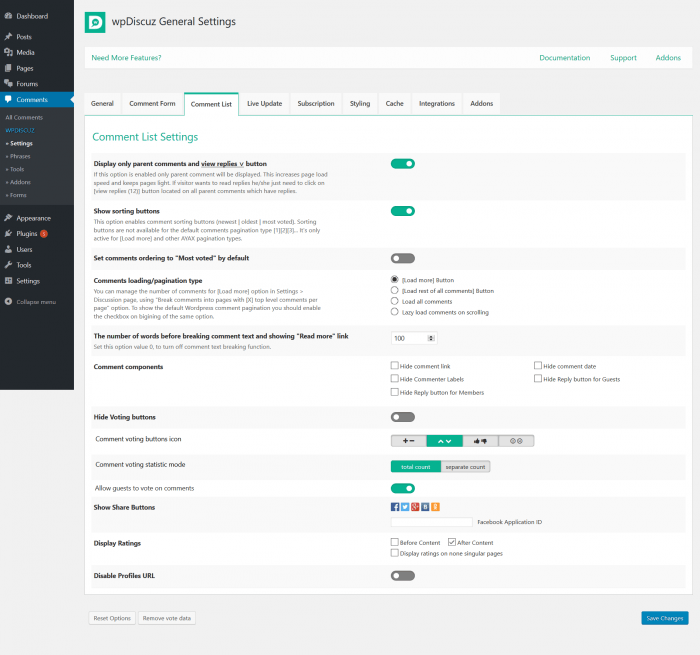 The general settings tab on the wpDiscuz dashboard allowing you to choose which comments to allow, how to sort them, which parts of them to appear, etc.