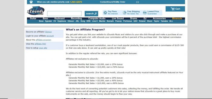 screenshot of the affiliate sign up page for zZounds