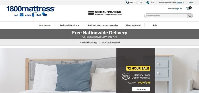 screenshot of the affiliate sign up page for 1-800-Mattress