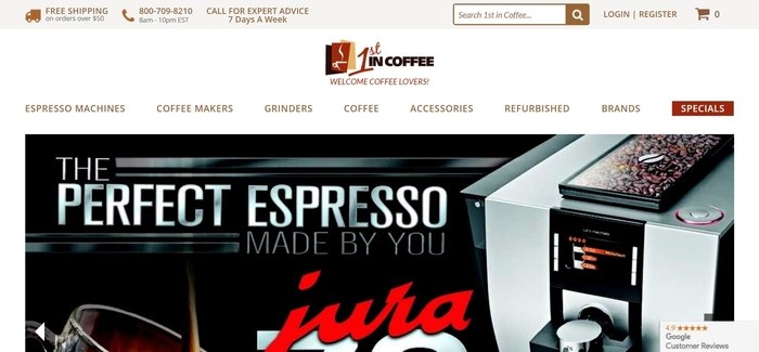 screenshot of the affiliate sign up page for 1st in Coffee