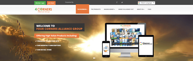 4 Corners Alliance Group website screenshot showing an outdoors image of a sunrise or sunset, along with various products from the company.