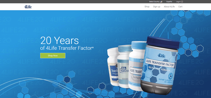 4Life Website Screenshot showing four bottles of pills against a blue background.