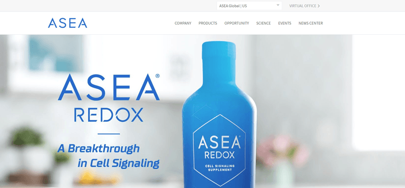 ASEA website screenshot showing a bottle of the ASEA Redox product sitting on a kitchen counter.