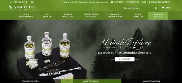screenshot of the affiliate sign up page for Absinthes.com