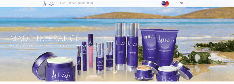 Acti-Labs website screenshot showing a range of the company's products on a beach.