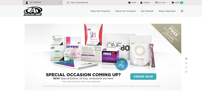 Advocare website screenshot featuring a selection of different products from the company, along with a link to order.