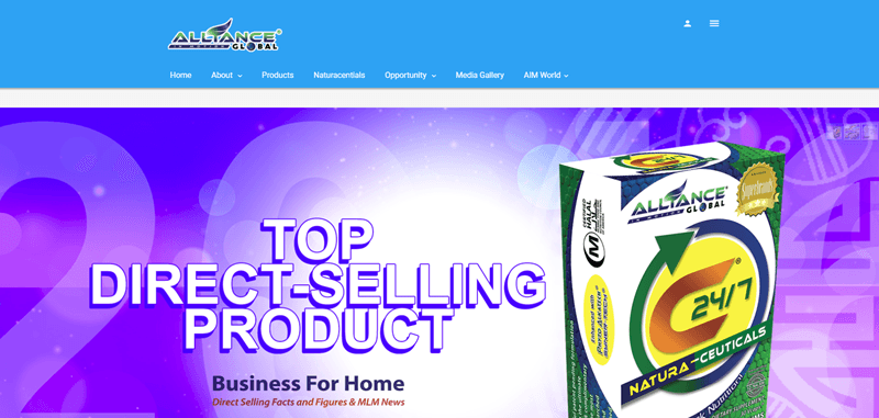 Alliance Global website screenshot showing their 24/7 Natural-ceuticals product against a purple background.