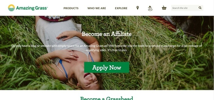 screenshot of the affiliate sign up page for Amazing Grass