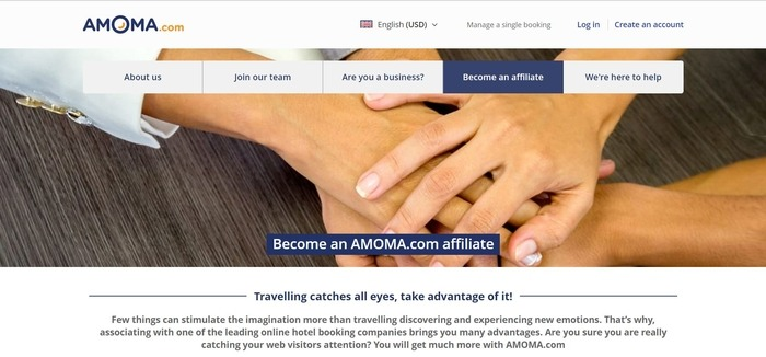 screenshot of the affiliate sign up page for Amoma.com