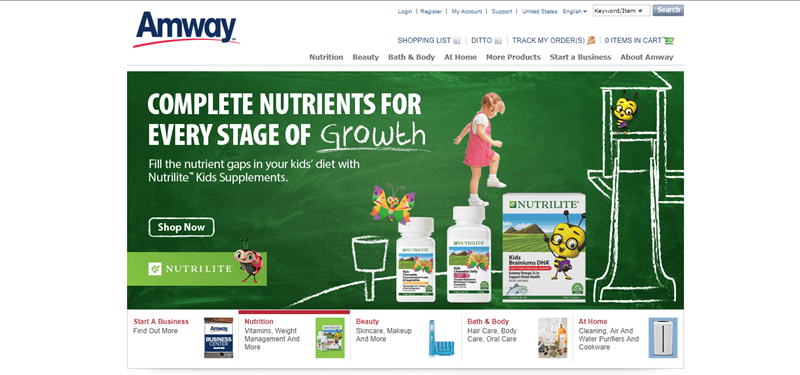 Amway website screenshot showing a chalkboard-like image with some of the Nutrilite products from Amway, a young girl, some bees and various chalk images.