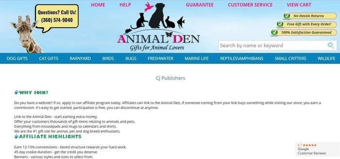 screenshot of the affiliate sign up page for Animal Den