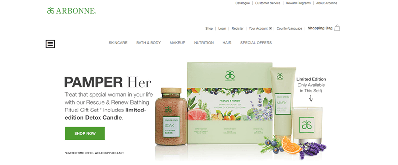 Arbonne website screenshot showing a selection of pamper products for females.