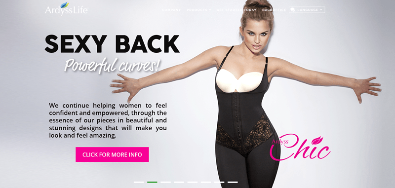 Ardyss website screenshot showing a young woman in body wear posing sexily for the camera.