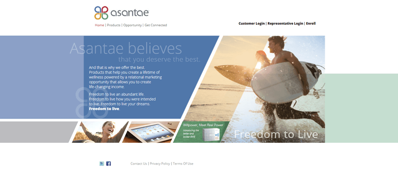 Asantae website screenshot showing a collection of images and text, focusing on the ideas of freedom and life.