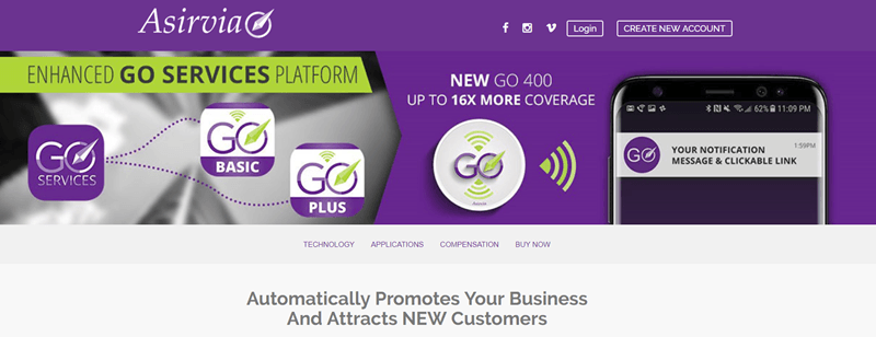 Asirvia website screenshot showing a purple background and a mobile phone.