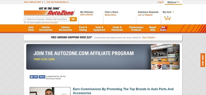 screenshot of the affiliate sign up page for AutoZone