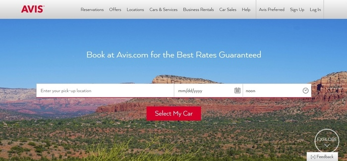 screenshot of the affiliate sign up page for Avis