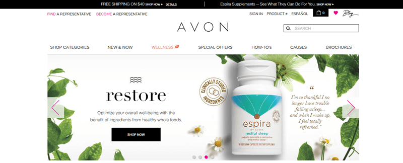 Avon website screenshot showing their sleep aid product surrounded by various pieces of greenery.